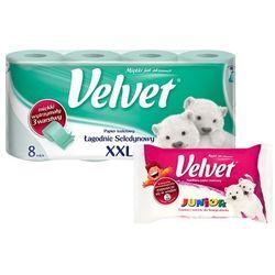 Zestaw VELVET 8szt XXL Łagodnie seledynowy papier toaletowy + nawilża
