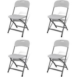 vidaXL Białe składane krzesła ogrodowe 4 szt. trwały HDPE Darmowa wysyłka i zwroty
