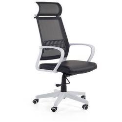 Krzesło biurowe czarno-białe – fotel biurowy – obrotowy - siatka - LEADER