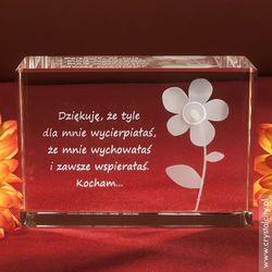 Kwiatek 3D w szkle + Twoja własna dedykacja GRATIS