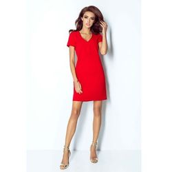 Czerwona sukienka trapezowa mini z dekoltem v