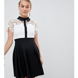 99753aa9d7 Paper Dolls Petite 2 in 1 crochet lace top skater dress with contrast  collat detail in