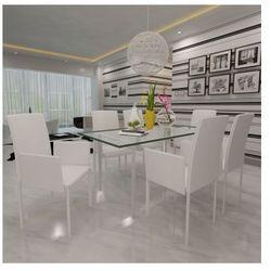 Zestaw foteli jadalnianych ze sztucznej skóry 6 sztuk białe Zapisz się do naszego Newslettera i odbierz voucher 20 PLN na zakupy w VidaXL!