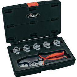 Zestaw szczypcy zaciskowych Vigor V2499, 0.5 mm² - 10 mm², stos. do: Izolowane końcówki kablowe, Closed, non-insulated terminals, otwarte, nieizolowane końcówki kablowe, Końcówki kablowe