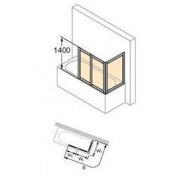 Parawan nawannowy Huppe Combinett - 3-częściowy 70x150 cm, profil srebrny mat, szkło przeźroczyste AC0701.087.321