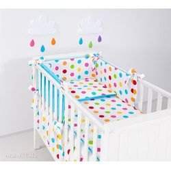 MAMO-TATO dwustronna pościel 2-el Kule lato małe / niebieski do łóżeczka 60x120cm
