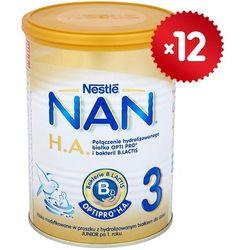 Zestaw 12x NESTLE NAN HA 3 400g Mleko modyfikowane następne z B.Lactis