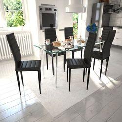 vidaXL 6 wysokich, czarnych krzeseł do jadalni + stół ze szklanym blatem Darmowa wysyłka i zwroty