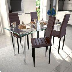 vidaXL 4 wysokie brązowe krzesła do jadalni + stół ze szklanym blatem Darmowa wysyłka i zwroty