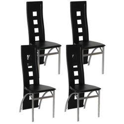 vidaXL Krzesła jadalniane czarne, 4 Darmowa wysyłka i zwroty