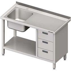 Stół ze zlewem jednokomorowym z trzema szufladami i półką STALGAST 1700x700x850 lewy
