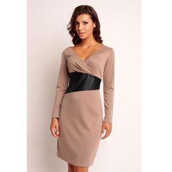 Beżowa Wizytowa Sukienka z Dekoltem V z Kontrastowym Panelem w Tali