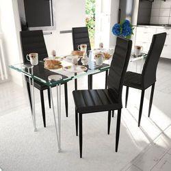 vidaXL 4 wysokie czarne krzesła do jadalni + stół ze szklanym blatem Darmowa wysyłka i zwroty