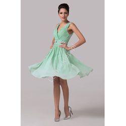 Miętowa szyfonowa sukienka z kryształkami w pasie | sukienki na wesele