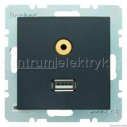 BERKER B.1/B.3/B.7 GLAS GNIAZDO USB/3,5 MM AUDIO ANTRACYT