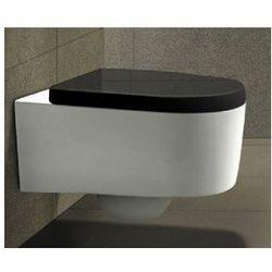 LORENT Miska WC wisząca + czarna deska duroplast wolnoopadająca