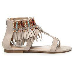 Płaskie sandały boho Alondra - odcienie brązu i beżu