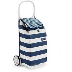 Torba na zakupy z kółkami Italo biało-niebieska,