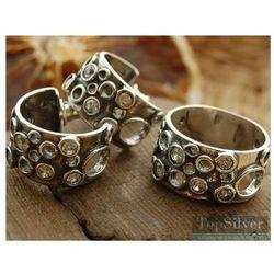 VULCANO - srebrny komplet z kryształkami