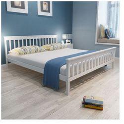 Białe, sosnowe łóżko 200 x 180 cm Zapisz się do naszego Newslettera i odbierz voucher 20 PLN na zakupy w VidaXL!