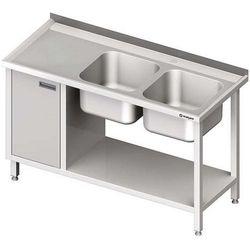 Stół ze zlewem dwukomorowym z szafką i półką STALGAST 1600x700x850 prawy