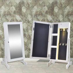 vidaXL Biała toaletka na biżuterię z oświetleniem LED i lustrem Darmowa wysyłka i zwroty