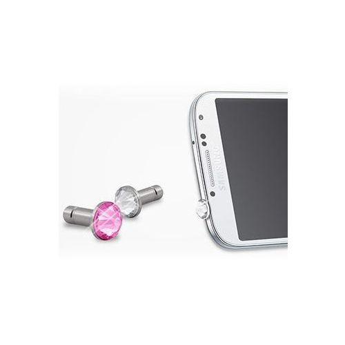 White diamonds Zatyczka do gniazda Jack 3.5mm Mobile Phone Jewelry for Samsung Galaxy S4, Clear/Pink Darmowy odbiór w 15 miastach!