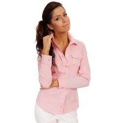 Różowa Biznesowa Koszula w Delikatną Kratkę