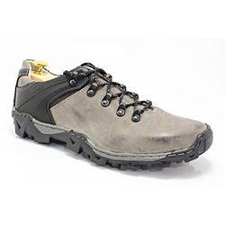 KENT 116 SZARE - Trekkingowe buty męskie 100% skórzane