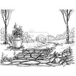 Naklejka Kamienne schody w parku rysunek ołówkiem
