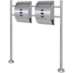 vidaXL Podwójna skrzynka na listy stojaku wykonana ze stali nierdzewnej (2x50351+50355) Darmowa wysy?ka i zwroty