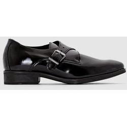 Skórzane wsuwane buty derby z paskiem z klamrą