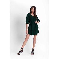 fb90bfda70 Zielona Rozkloszowana Dziewczęca Sukienka z Dekoltem V