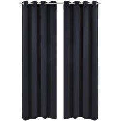 vidaXL Czarne zasłony zaciemniające z metalowymi kołami Blackout 2 szt. 135 x 245 cm Darmowa wysyłka i zwroty
