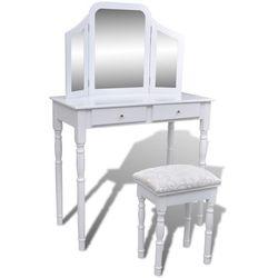 vidaXL Biała toaletka z lustrem 3w1, taboretem i dwiema szufladami Darmowa wysyłka i zwroty