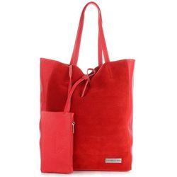 9f152611115f7 Włoskie Torebki Skórzane VITTORIA GOTTI ShopperBag z Etui Czerwona (kolory)
