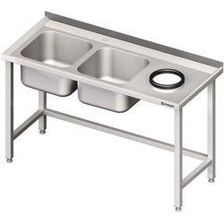 Stół ze zlewem dwukomorowym z otworem na odpadki STALGAST 1500x600x850 lewy