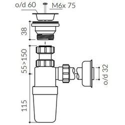 Pół-syfon PCV z sitkiem Marmorin ZPS