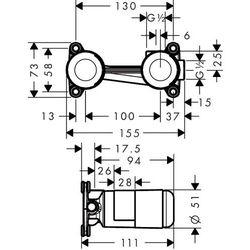 Zestaw podtynkowy do baterii umywalkowej podtynkowej HANSGROHE 13622180
