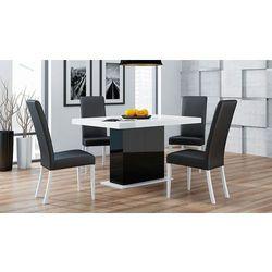 biały połysk lacobel mega okazja Stół Lorenz 90/130 do 265 + 4 krzeseła Viki
