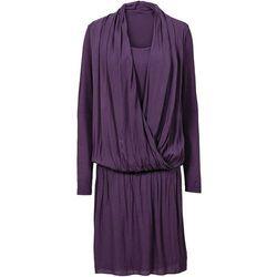 Sukienka z dżerseju z szyfonem bonprix śliwkowy