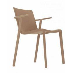 Designerskie krzesło z podłokietnikami do restauracji Kat Resol kawowe