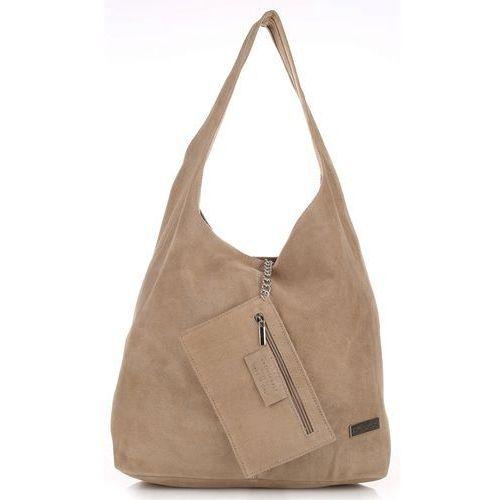 5be8feedce47e Oryginalne Torby Skórzane XL VITTORIA GOTTI Shopper Bag z Etui Zamsz  Naturalny Beżowa (kolory)