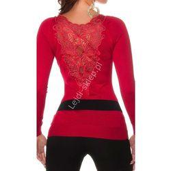 Sweter z gipiurową koronką na plecach , czerwony/ swetry damskie na zimę