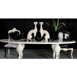 Biały stół jadalny, wysoki połysk, toczone nogi, styl Modern.
