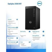 Dell Komputer Optiplex 3080 MT/Core i3-10100/8GB/256GB SSD/Integrated/DVD RW/No Wifi/Kb/Mouse/260W/W10Pro