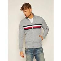 TOMMY HILFIGER Bluza Logo Zip Through MW0MW14541 Szary Regular Fit