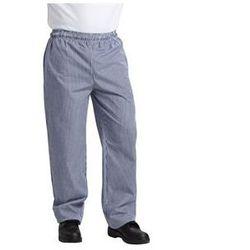 Spodnie unisex w drobną biało-niebieską kratę | rozmiary XS-XXL