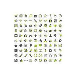 Foto naklejka samoprzylepna 100 x 100 cm - Ulubione zielone szare ikony - strona internetowa sklep internetowy