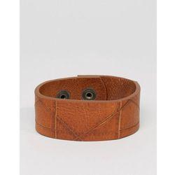 Diesel A-Hustle Leather Cuff Bracelet In Tan - Tan